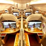 Emirates First Class dance of the seven veils ditches gold bling and faux walnut