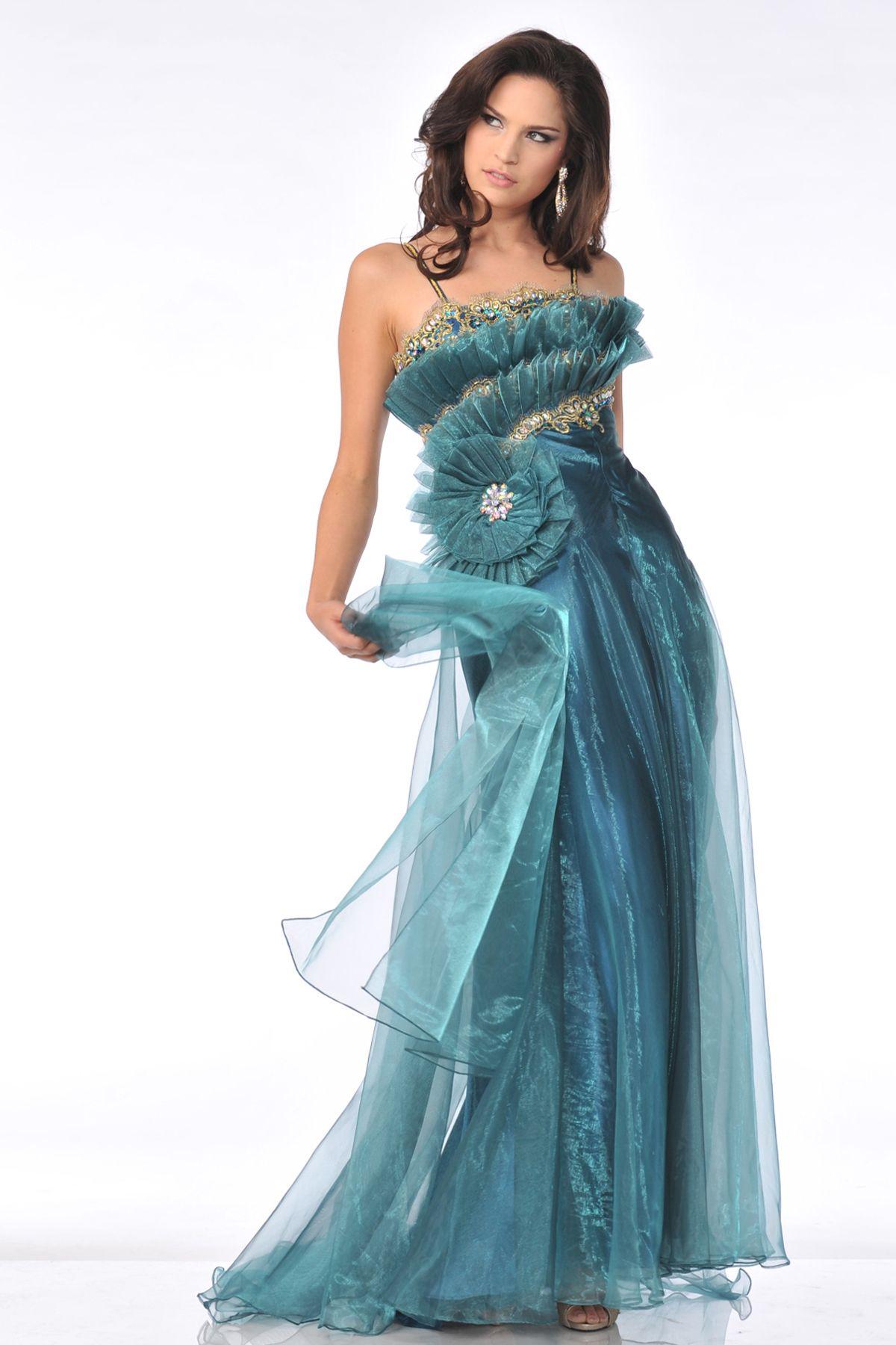 CDK21102 Spaghetti Strapped Ruffle Tulle Pattern Prom Dress