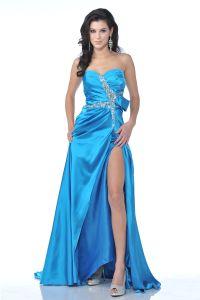CD1642, Strapless Rhinestone Detail Side Slit Prom Dress