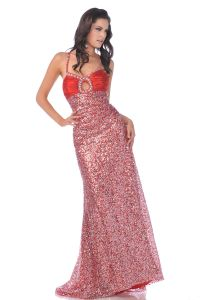 CD7549, Spaghetti Strapped Ruched Bust Sequin Prom Dress