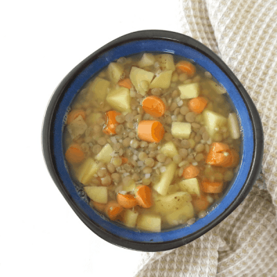 Healthy Easy Lentil Soup (vegan, oil free, gluten free)