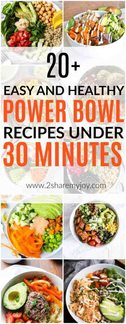20 + Easy and Healthy Power Bowl Recipes under 30 Minutes that are all clean eating recipes with fresh and wholesome foods. No refined sugars or other additives. Don't you love healthy dinner recipes under 30 minutes? The newest trend are buddha bowls, or power bowls and they don't just look delicious they taste great and provide a great nutrition for your body. Some of the power bowl recipes below belong to a keto diet, paleo diet, vegan, or vegetarian diet. All recipes are clean and without added sugars.