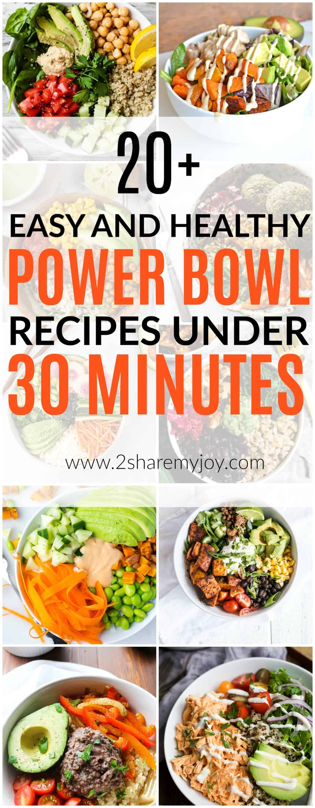 20 + Easy and Healthy Power Bowl Recipes under 30 Minutes that are all clean eating recipes with fresh and wholesome foods. No refined sugars or other additives. Buddha bowls provide a great nutrition for your body. Some of the power bowl recipes belong to a keto diet, paleo diet, vegan, or vegetarian diet. All recipes are between 300 and 500 calories #buddhabowl #powerbowl
