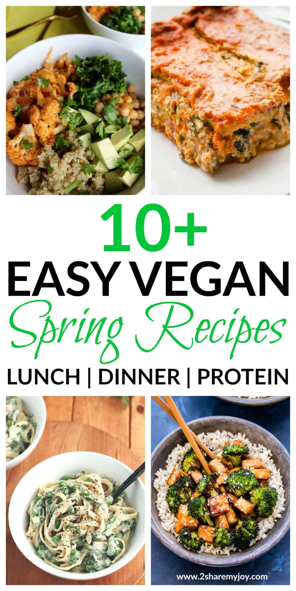 Easy vegan spring recipes for a whole food plant based diet. High protein dinner recipes that can also be used for lunch. These vegan recipes make great weight loss meals too and are budget friendly.