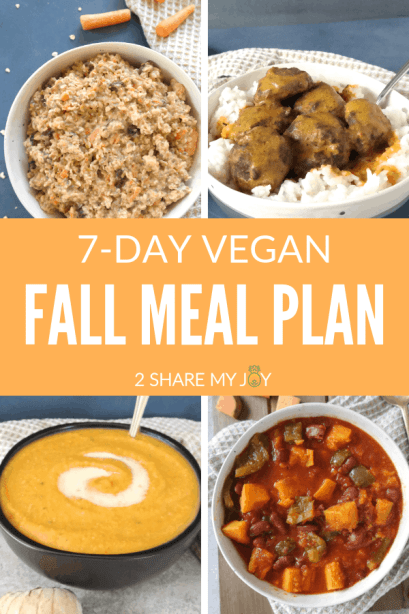 HEALTHY VEGAN FALL MEAL PLAN. Carrot cake oat bowl, butternut squash recipes, immunity boosting smoothie and more. Healthy 7-day autumn meal plan for a plant based diet.
