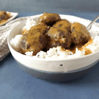 Healthy Bean Balls and Gravy (vegan)