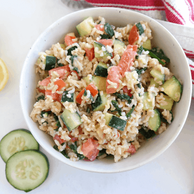 Vegan Rice Salad {Mediterranean, Oil Free}