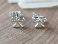 Petite Sterling Silver Bow Stud Earrings, Bow Post ...
