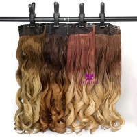 Hottest 3/4 Full Head Clip in Curly Hair Extension Ombre ...