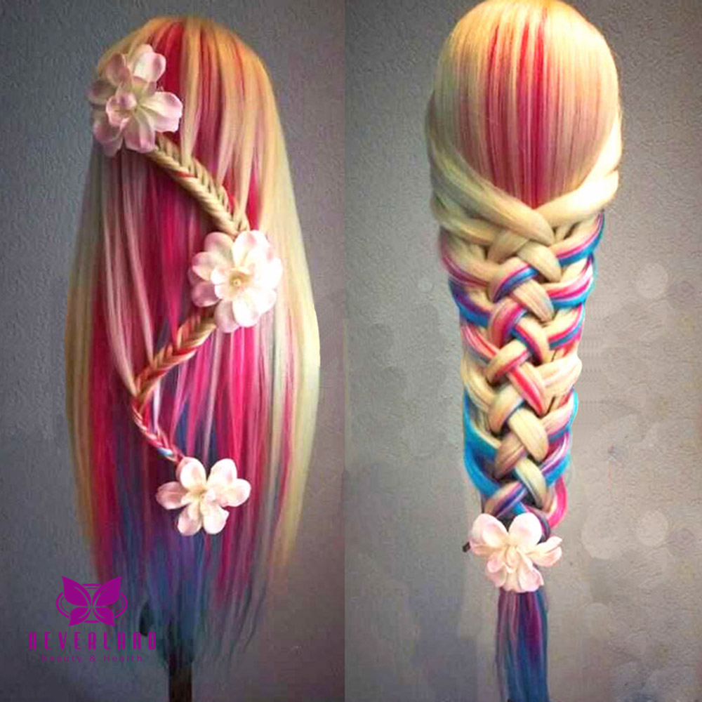 24 Color Long Hair Hairdressing Practice Head Training