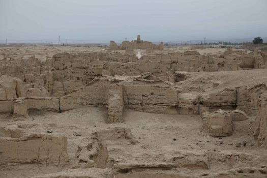 Weathered buildings still standing after millenia of warfare and erosion