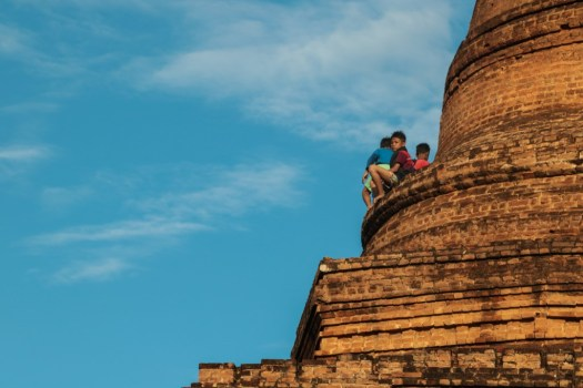 Kids playing on the top of ancient temples