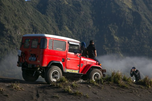 Posing for photos on the Bromo Sand Sea