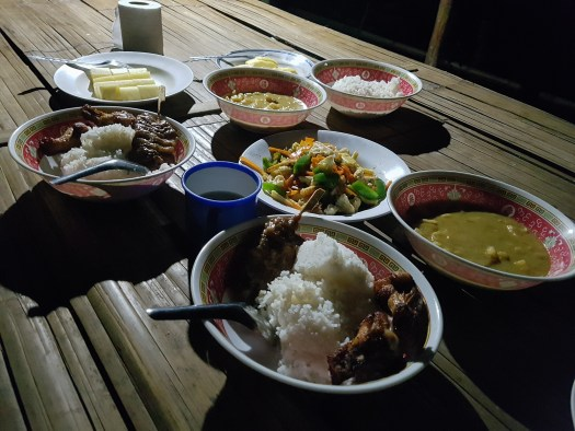 A lavish dinner in the jungle camp