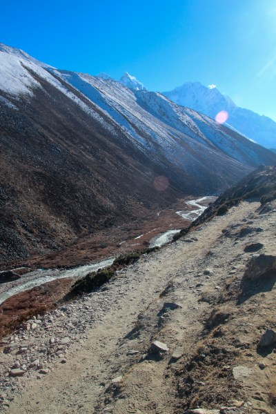 A river runs along the valley from Lobuche