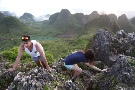 Climbing to the top of Osmeña Peak