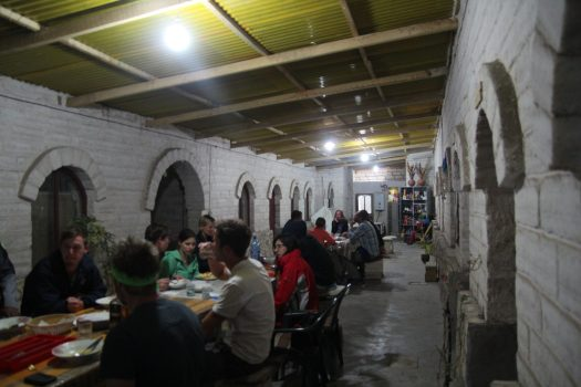 The communal dining area in a salt hotel