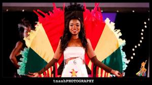Eaerlier in the evening, Dananai Chipunza in her Zimbabwe flag ostrich outifit - Tnash Phorography