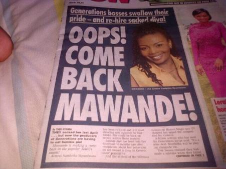 Mawande returning to Generations