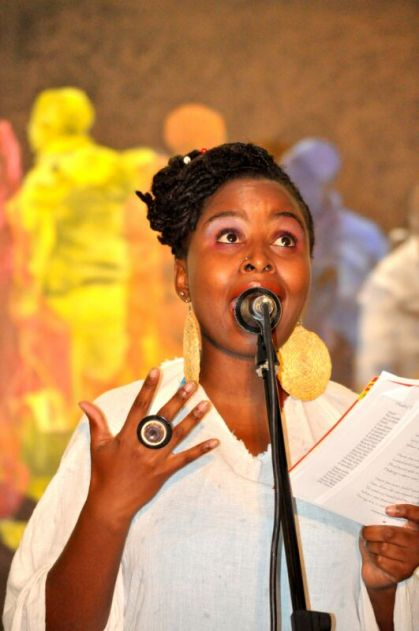LadyTshawe performs at the launch of her book