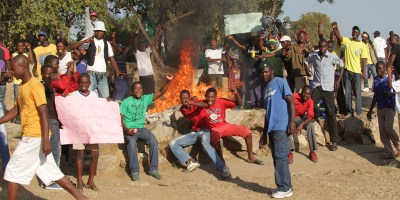 Youths burn material at Budiriro shrine in solidarity with people attacked by Mapostori -  Photo Aaron Ufumeli/NewsDay Zimbabwe