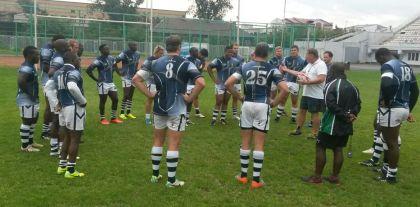 Zim rugby team in team talk in Russia