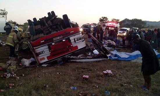 Scene at Runde River where a Tombs Motorways bus has crashed PIC: Nhasi PaGweru