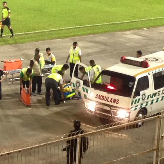 The late David Oniya attended to by medics