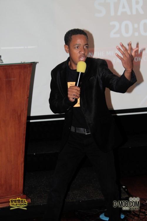 Clive Chigubu performs at the Zambezi Magic launch