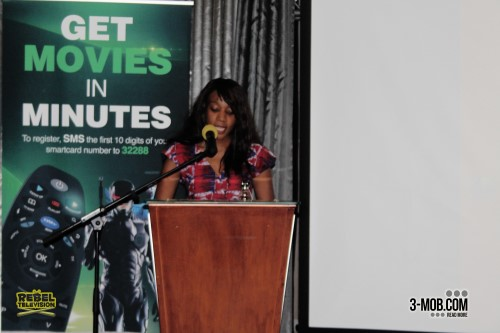 Multichoice Zimbabwe publicity and public relations manager Liz Dziva reads a prepared speech