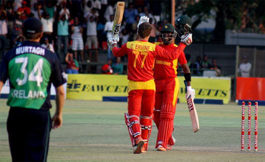 Craig Ervine celebrates after scoring the winning runs PIC: ZimCricket
