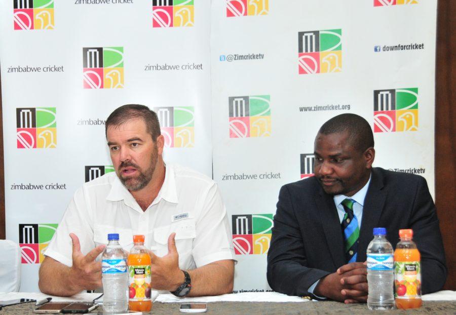 Newly appointed Zimbabwe head coach Heath Streak (left) with ZC chairman Tavengwa Mukuhlani at the unveiling event in Bulawayo