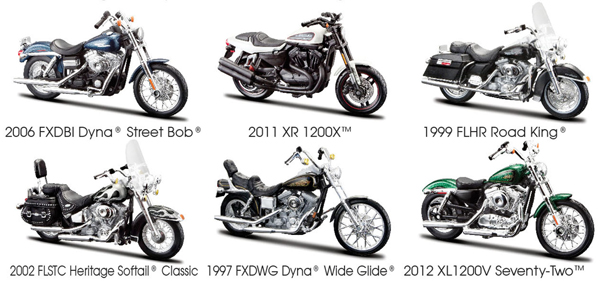 Maisto Diecast Harley Davidson Series 32 Twelve Piece Case