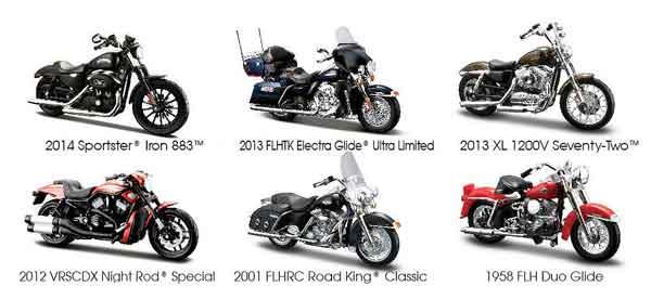 Maisto Diecast Harley Davidson Series 33 6 Piece SET