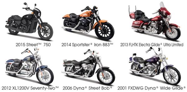 Maisto Diecast Harley Davidson Series 34 Twelve Piece Case