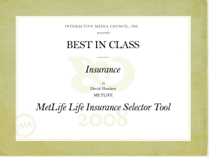 Best In Class Interactive award for MetLife.
