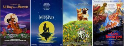All Dogs Go To Heaven, The Little Mermaid, Milo & Otis, The Land Before Time