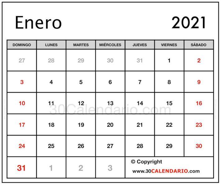 Editable Enero 2021 Calendario con líneas y borde