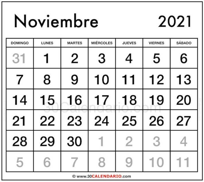 Imagen de Calendario Noviembre 2021 con fuentes grandes