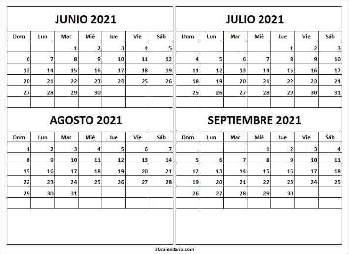 2021 Calendario Junio a Septiembre