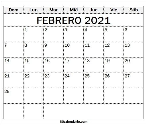 2021 Febrero Calendario En Blanco