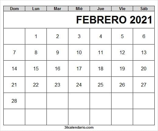2021 Febrero Calendario Imprimir