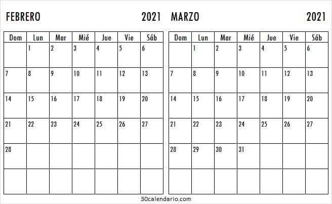 2021 Febrero Marzo Calendario En Blanco