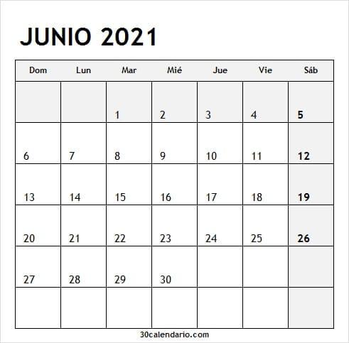 2021 Junio Calendario En Blanco