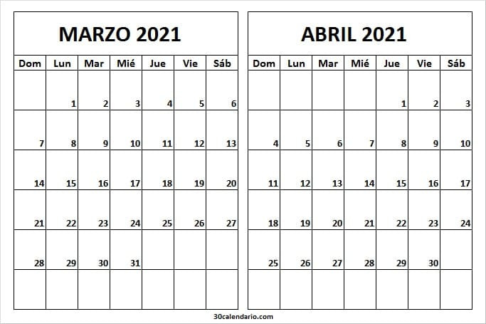 2021 Marzo Abril Calendario En Blanco