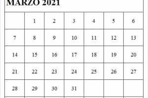 2021 Marzo Calendario Imprimir