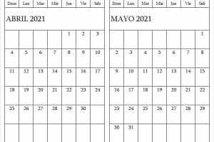 Abril Mayo 2021 Calendario