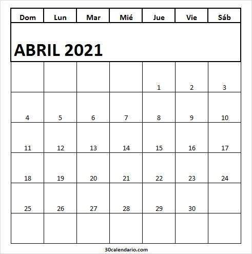 Calendario Abril 2021 Infantil