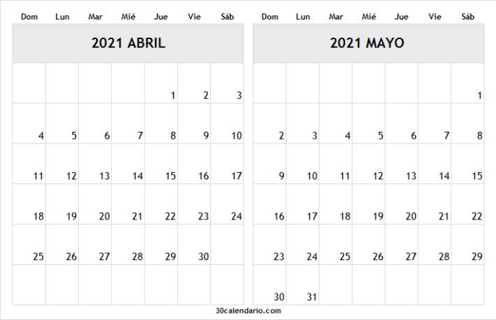 Calendario Abril Mayo 2021 Con Feriados