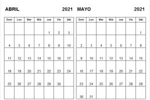 Calendario Abril Mayo 2021 En Español
